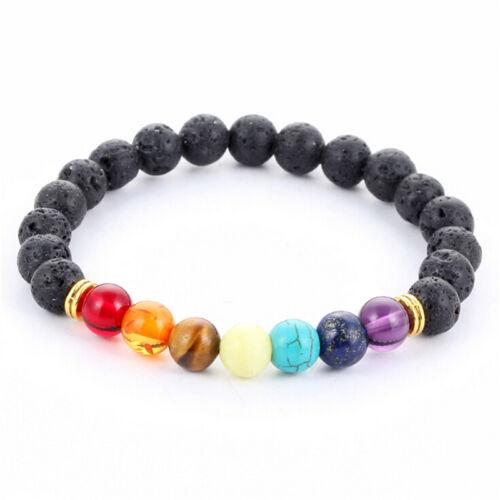 Reiki 7 Gemstone Chakra Lava Rock Stone Spacer Healing Bead Bangle Bracelet SK