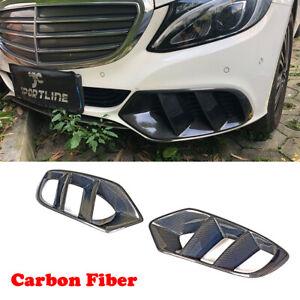 Carbon-Lufteinlaesse-Vent-Front-Grill-Gitter-Spoiler-Fuer-Mercedes-Benz-W205-15-18