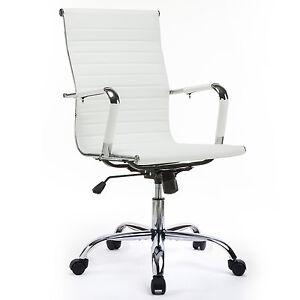 GTracing Leather Office Chair Modern Ribbed Executive Swivel