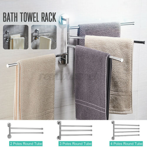 180° Wall Mounted Bathroom Towel Rack 4 Swivel Rail Hanger Shelf Stainless