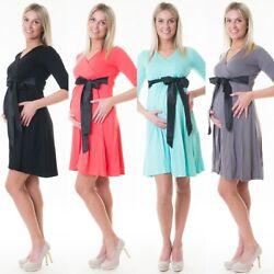3in1 Umstandskleid Stillkleid Kleid Schwangerschaftskleid Satinschleife D62