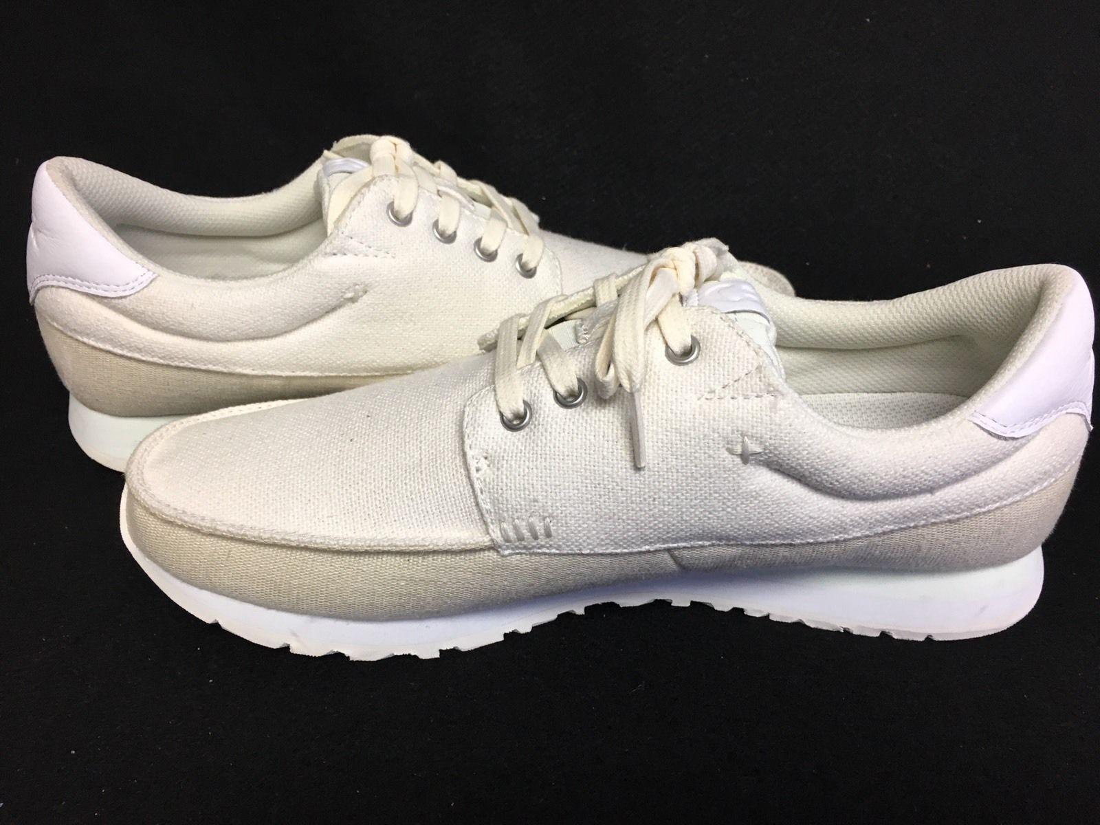 2018 NWOB MENS SANUK BEER RUNNER SHOES  9 white cream sneaker tennis shoe