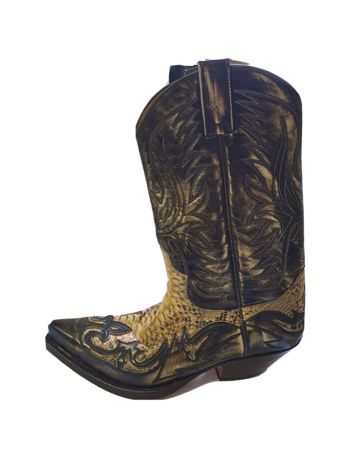 J1/180# Sendra Tierra Piton Exotic Western Boots Eu44