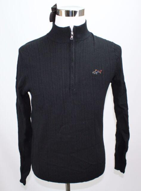 NWT Greg Norman Men's Sweater S Black Ribbed Mock Neck Quarter Zip MSRP $75