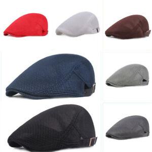 Mens Gatsby Baker Driver Cap Breathable Mesh Newsboy Cabbie Beret Sun Flat Hat