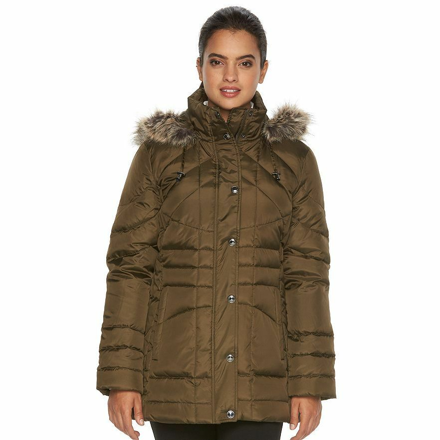 NWT - LONDON FOG Women's FAUX FUR HOODED DOWN Kale (Green) PARKA - Large