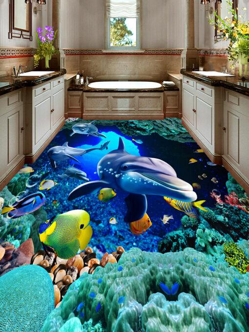 3D Koralle Fisch Ozean 7  Fototapeten Wandbild Fototapete BildTapete Familie DE
