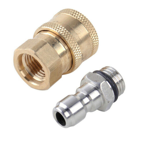 2x Pressure Washer Quick Release 1//4 Male M22//14 Female Plug Brass Connector New