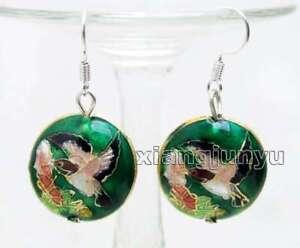 SALE-Fashion-18mm-Round-Dark-green-Cloisonne-Beads-Dangle-1-5-039-039-earring-ear651