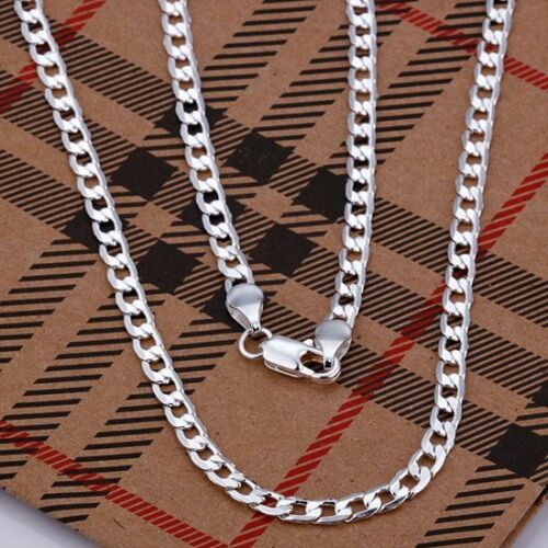 Wholesale New 4MM 925Sterling1 Silver Flat CS Necklace/&Chain 16-30in For Xmas