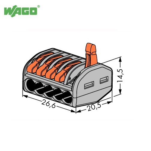 Packs de WAGO (222-415) CAGE CLAMP ® 5 Levier Cable Connector 5 ® Pole (1.0 mm - 4.0 mm) 56592f