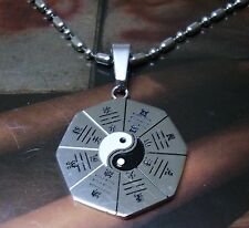 Stainless Steel Pendant Chain Necklace Bagua Yin Yang Octagon Fengshui 26mm