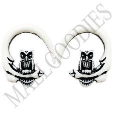 0678 Spiral Owl Taper Expander Stretcher Plugs Gauges Hoops 6G 4mm White Black