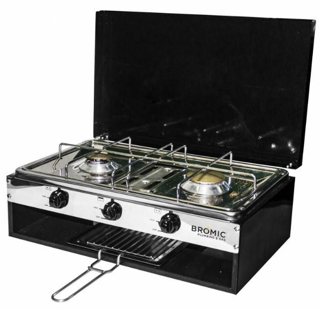 Lido Junior Stove Cooker Outdoor LPG 2 Burner +Grill Lid Caravan RV Camping Camp
