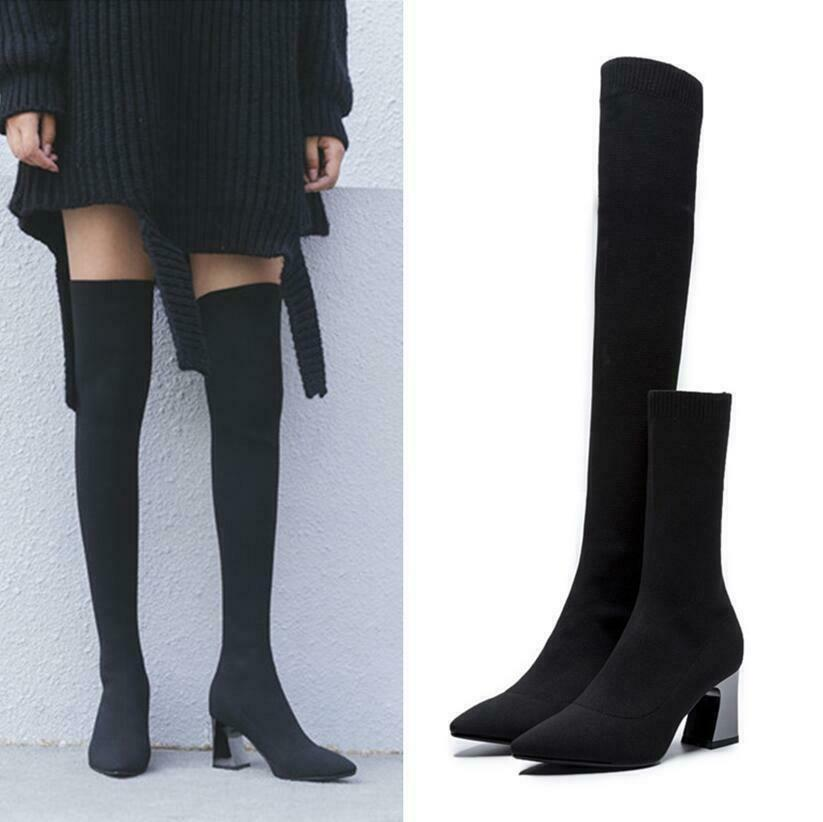 Spitz Zehe Socken Stretch-Stiefel Damen Elegant Blockabsatz Overkneestiefel TOP
