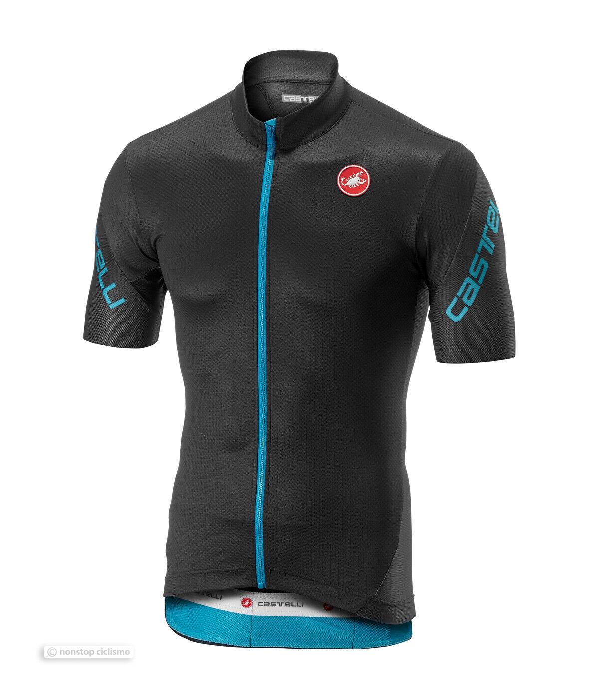 NEW Castelli ENTRATA 3 Short Sleeve  Full Zip Cycling Jersey   DARK GREY SKY blueE  inexpensive