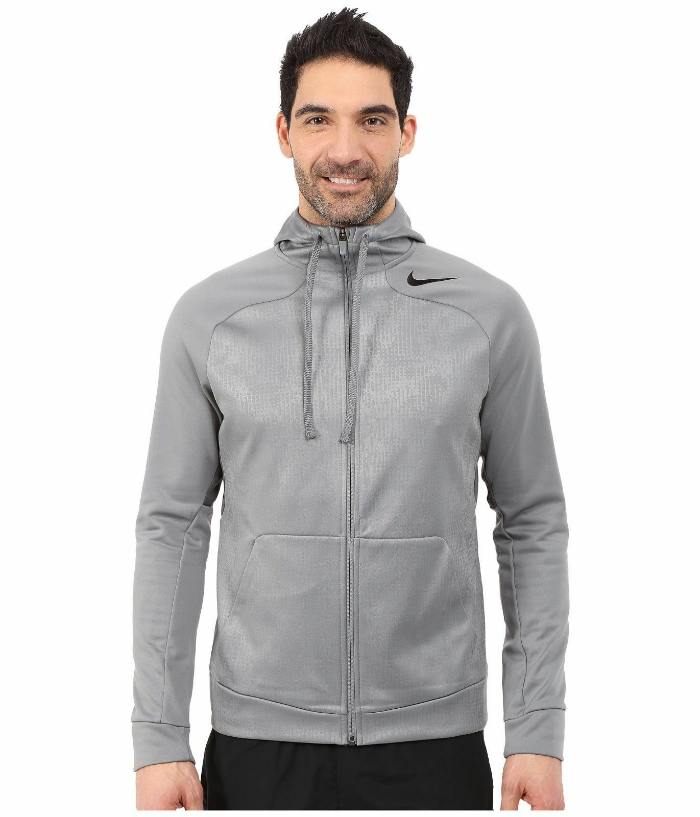 NIKE HYPERSPEED FLEECE FULL ZIP THERMA HOODIE GREY 694093-065 MEN'S SIZE XL
