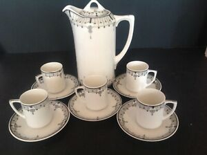 ANTIQUE-NIPPON-HAND-PAINTED-CHINA-COFFEE-POT-amp-5-SETS-DEMITASSE-CUP-amp-SAUCER
