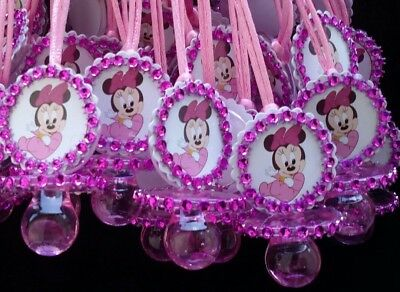 Game Prizes,Gift,Favors 12Pcs~Baby Shower~ MINNIE MOUSE Pacifier Necklaces,Girl