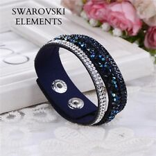 Bracelet 3 rangées Swarovski® Elements argent cuir souple pressions bleu nuit