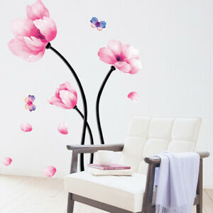 3D-Pink-Flower-Wall-Sticker-Art-Decal-Mural-DIY-Home-Room-Decor-Removable-G6A