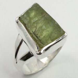 925-Solid-Sterling-Silver-Chunky-Ring-Size-US-6-5-Natural-GREEN-KYANITE-Gemstone