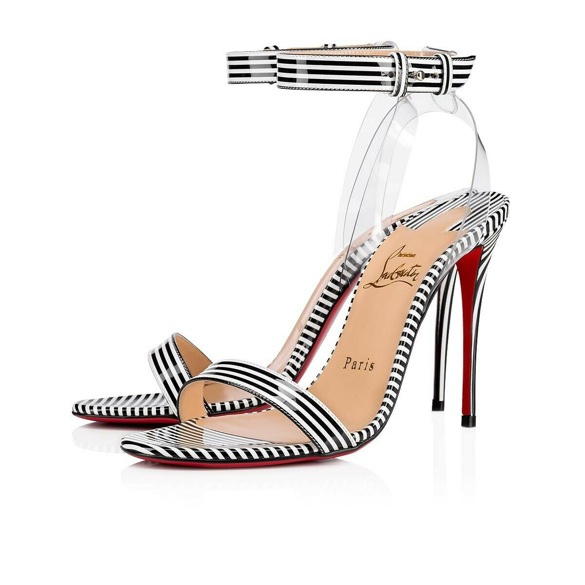 CHRISTIAN LOUBOUTIN Jonatina Patent Leather & PVC Sandal Pump Sz 36   6 US