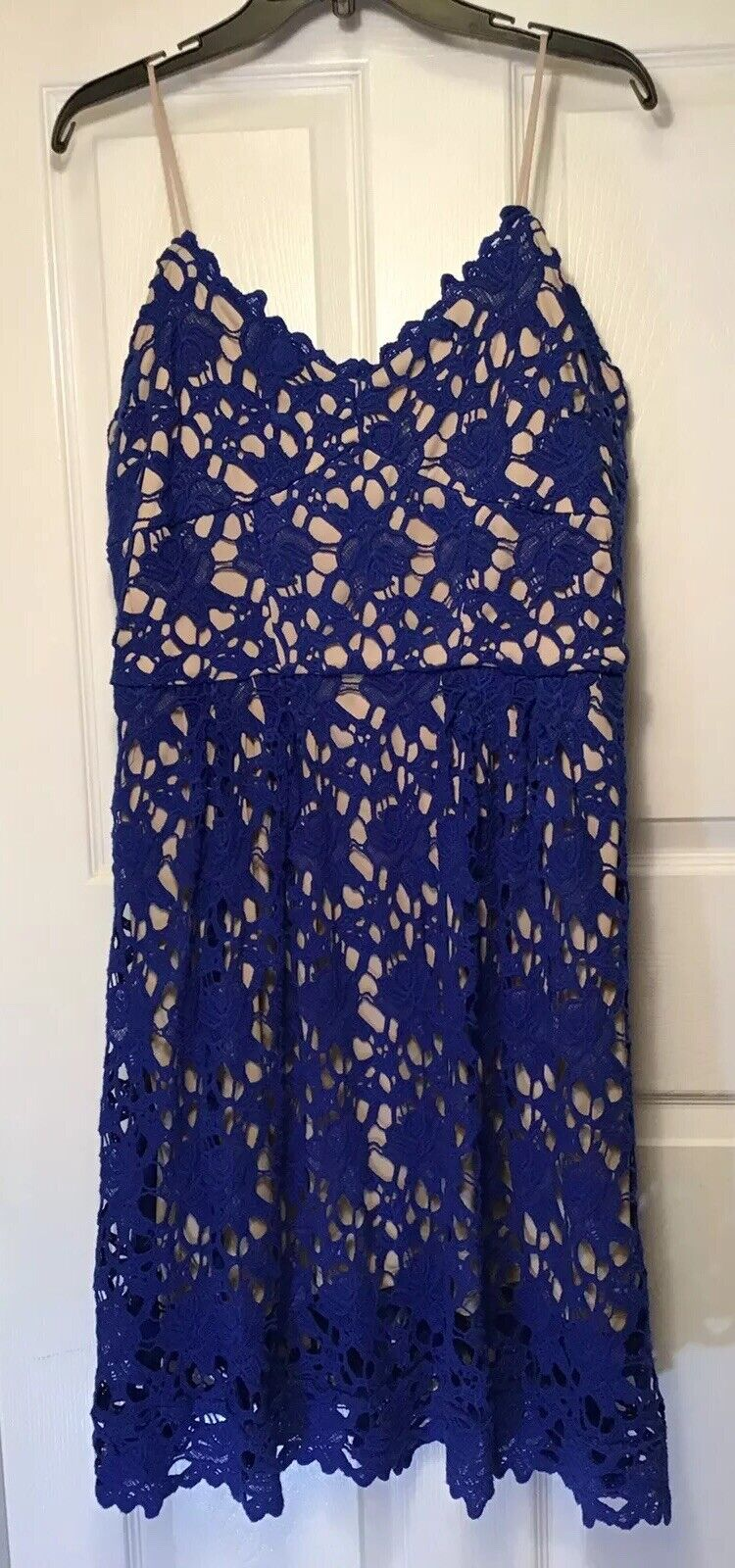 Alexia admor  damen Größe XL Blau Lace Dress Fit & Flair Spaghetti Straps NEW