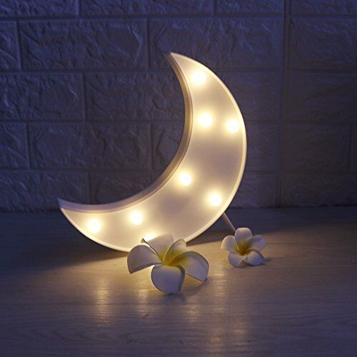 Baby Nursery Night Lamp Boys Girls Warm White Moon Decor Led Sign Kids Crescent