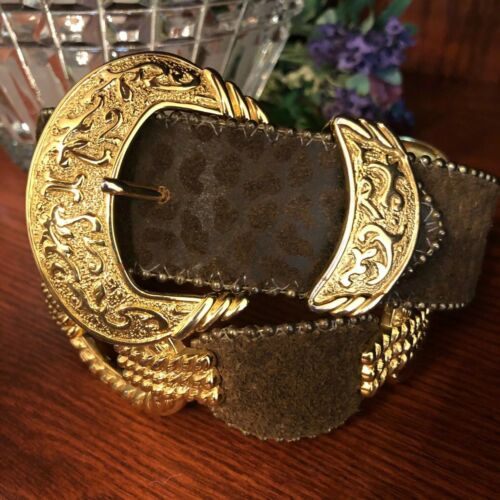 "Women's BB SIMON Belt - Brass & Leather 30"" - Same"