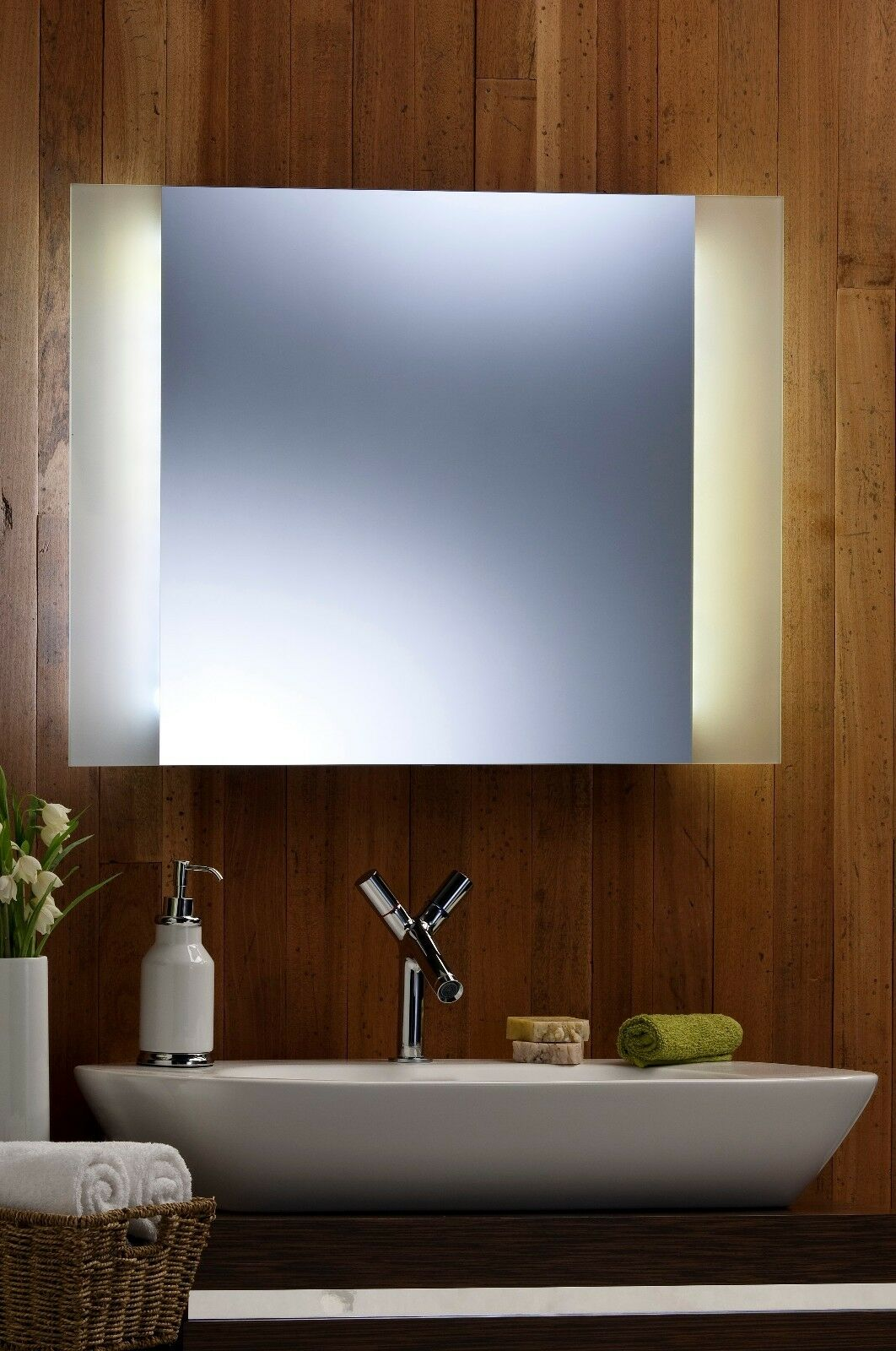 Bathroom wall mirror led ambient surround light with frosted edging rect 60 x 80 5391503677857 Neue design bathroom mirror