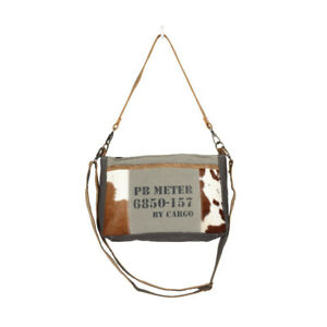 6b8245e99 Details about Dual Handle Stamp Canvas & Hairon Cowhide Recycled Bag-Shoulder  or Crossbody Bag