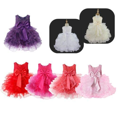 Flower Baby Girls Tutu Dress Bridesmaid Princess Birthday Newborn Party Pageant