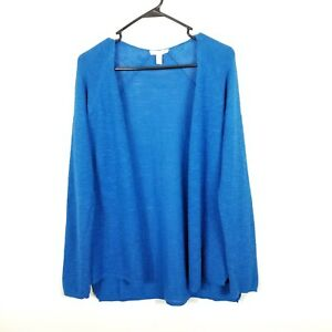Eileen Fisher Organic Linen Cotton Open Front Cardigan Women Sweater Blue S