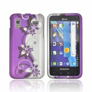 For-Samsung-Captivate-Glide-i927-Rubberized-HARD-Case-Snap-Cover-Purple-Vine