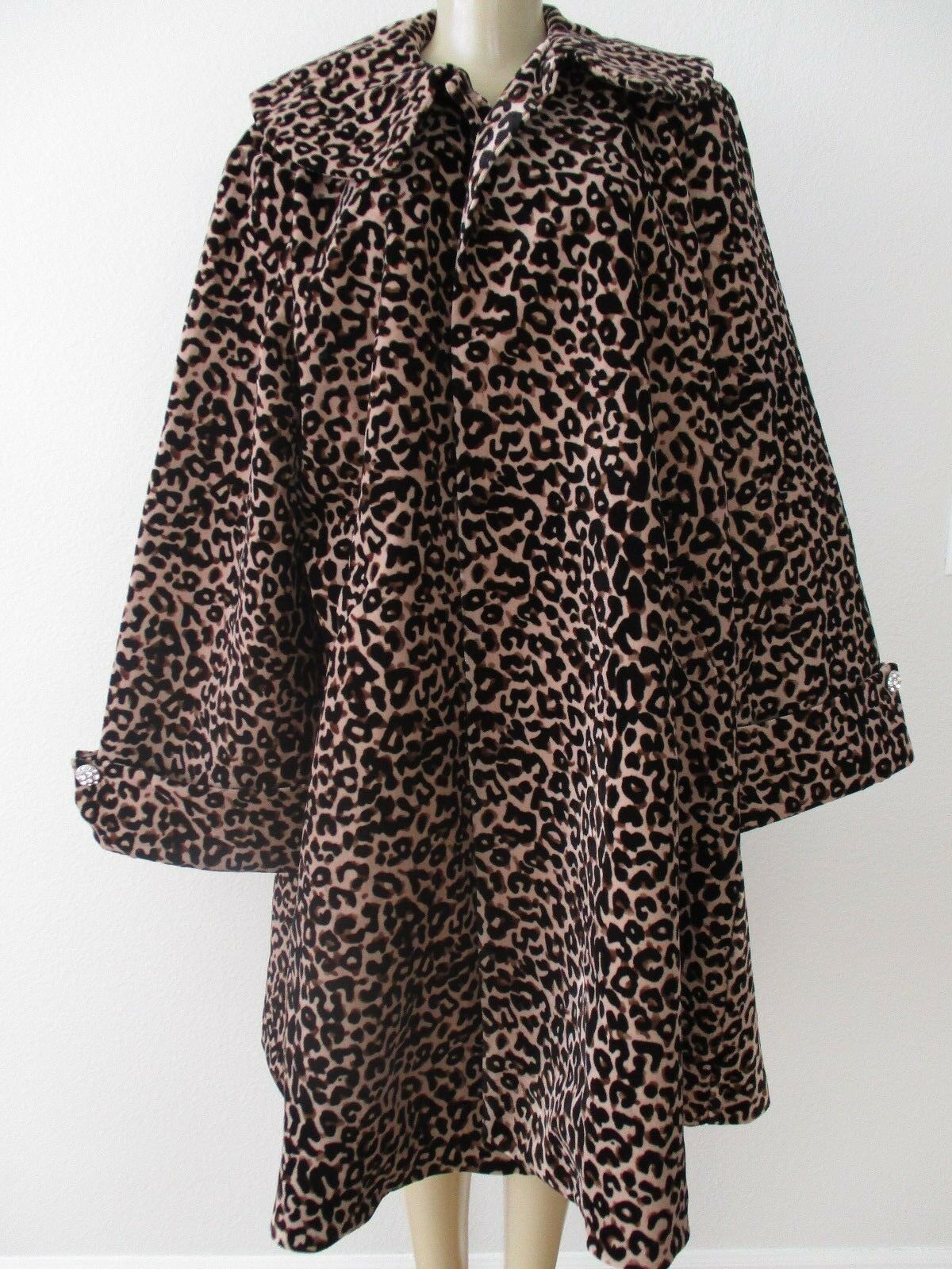 TOUCH OF CYN CYNDI LAUPER LEOPARD PRINT LONG SLEEVE SWING COAT SIZE S - NWT