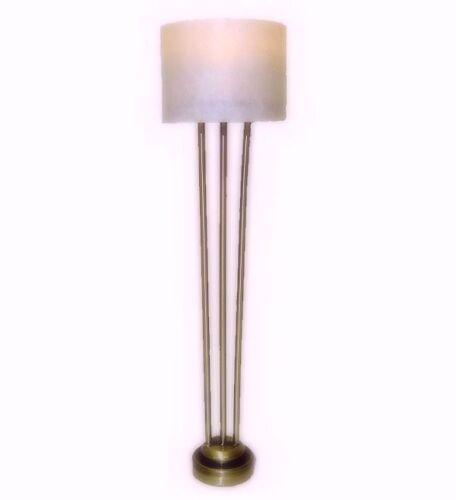 Dollhouse Battery LIghting Modern Brushed Brass Floor Lamp Drum Shade Miniatures