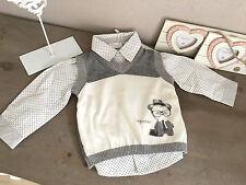 CHICCO Baby Boy Set Hemd & Pullover Pullunder Punkte weiß grau 9 M 68 NP 66,80