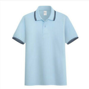 Summer-Mens-Comfort-V-Neck-Slim-Casual-Polo-Clothing-Cotton-T-Shirt-Sleeve-Short
