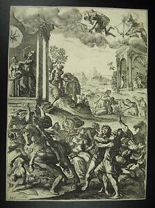 Brillant Antique Print Biblia Sancta Gravure Religieuse La Bible Scène De Bataille C1750 Produits Vente Chaude