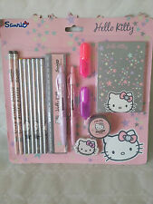 HELLO KITTY HUGE STATIONERY SET INCLUDES NOTE BOOK, PENCILS, PEN, RULER ETC - NE