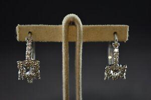 100% De Qualité Vintage Sterling Silver Boucles D'oreilles Créoles W Blanc Primrose Pierres - 5.6 G-afficher Le Titre D'origine Une Grande VariéTé De Marchandises