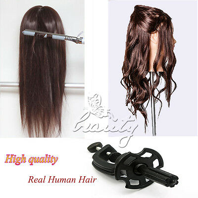 HOT Training Head Cosmetology Mannequin Head 50% Real Hairdressing FREE Clamp