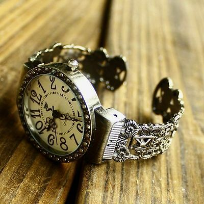 Luxury Lady Girl Antique Hollow Bangle Bracelet Quartz Big Dial Wrist Watch Gift