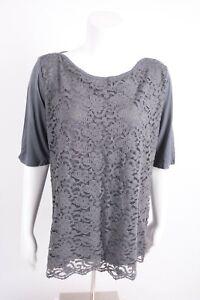 New-York-amp-Company-Women-039-s-Lace-Blouse-Shirt-XL-Gray-Half-Sleeve-Career-NWT