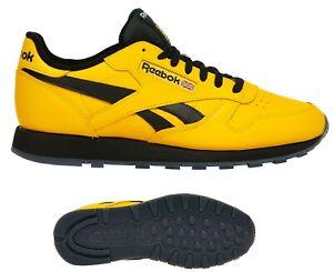 NEU Reebok Classic Leder Herren Retro Sneaker gelb schwarz