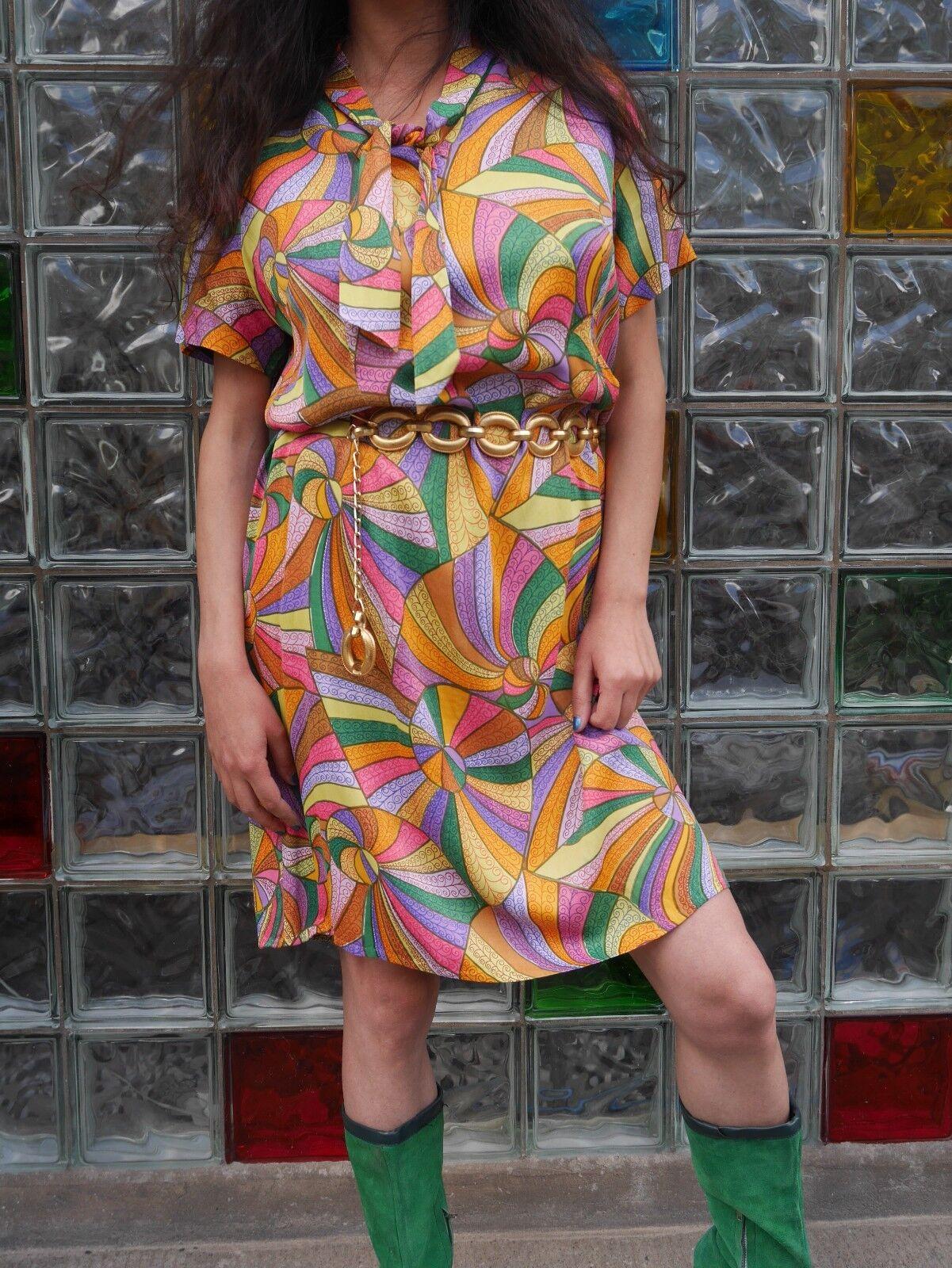 KLEID mit Schluppe Schleife 70er 70er 70er True VINTAGE handmade mini psychedelic dress 10315f