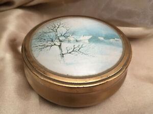 VINTAGE Footed Red Round Gold Tone Winter Scene Lid Vanity Jewellery Trinket Box