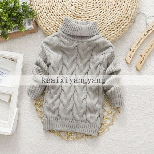 New Baby Boys Girls Knitted Jumper Warm Winter Pullover Turtleneck Sweater