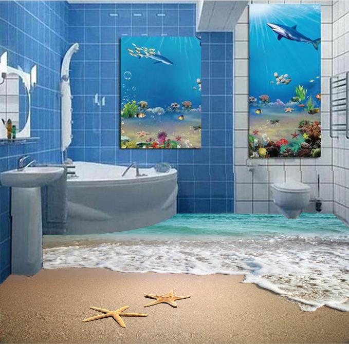 3D 3D 3D Starfish Beach 8077 Floor WallPaper Murals Wall Print Decal 5D AU Lemon 6b4594